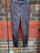 Ladies JESSIE Burgundy Coated Wet Look Skinny Stretch High Waist Jeans 12 New