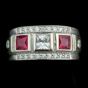 Bold& Brilliant Engagement Men's Modern Band Ring 14K White Gold 2.9Ct Diamond