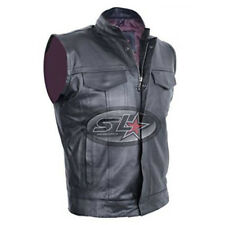 Son Of Anarchy Black Real Leather Motorcycle Biker Waistcoat/Vest (All Sizes)