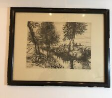 Vintage Original Etching  LEO KAYSER 1917 Group of Trees Next To A River