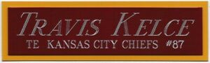 TRAVIS KELCE KANSAS CITY CHIEFS NAMEPLATE FOR AUTOGRAPHED Signed FOOTBALL JERSEY