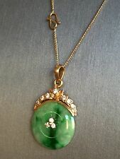 Nice Estate Green Jade And 0.35ct Diamond In 18k Gold Pendant ( No Chain)