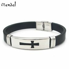 MENDEL 8 Inch Mens Religious Christian Cross Bracelet Wristband Stainless Steel