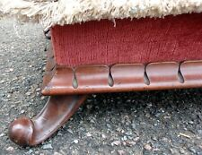 More details for victorian antique carved mahogany lappet moulded country house footstool stool