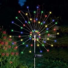 90 LED Solar Powered Firework Starburst Stake Light Multi Colour Garden Outdoor