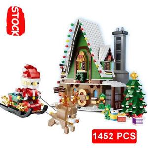 1452pcs City Winter Snow House Santa Claus Building Block Snowmobile Christmas