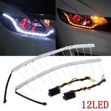 2 x 12LED Switchback LED Lampe Flexible Strip DRL Tagfahrlicht Leuchte Weiß/Gelb