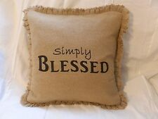 "Burlap Decorative Pillow Cover ""Simply Blessed"" 16""x 16""  NEW ITEM"
