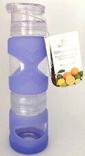 APANA Fruit Citrus Juicer Water Bottle 900ml Lavender Silicone Sleeve - New
