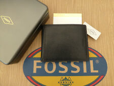 FOSSIL Coin Wallet TYLER Int Black Billfold Leather Wallets in Gift Tin RRP£49