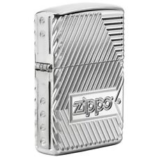 Zippo 29672, Armor, Bolts, Epoxy Inlay, 360 Degree Multi-Cut HP Chrome Lighter.