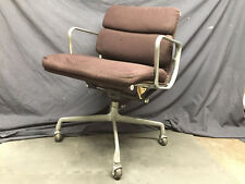 Eames Herman Miller Aluminum Group soft pad management chair brown fabric FLAWED