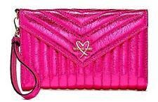 Victoria's Secret VS V-quilt Tech Wallet iPhone Case Clutch Hot Pink Gold Heart