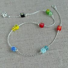 ANKLET Millefiori Flowers 925 Sterling Silver Crystal Ankle Bracelet