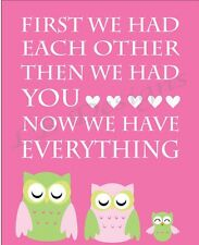 Pink And Green Owl Nursery Print, Girl Nursery Decor -8x10