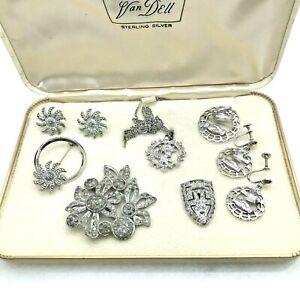 Vintage Silvertone Marcasite Rhinestone Jewelry Lot in Van Dell Sterling Box 7pc