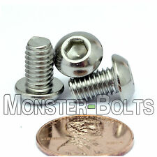 6mm x 1.00 x 10mm - Qty 20 - A2 Stainless Steel BUTTON HEAD Screws M6-1.0 x 10mm