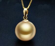 huge 14MM natural south sea genuine gold perfect round pearl  pendant