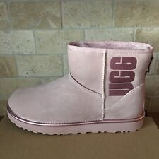 UGG Classic Mini Rubber UGG logo Pink Crystal Metallic Suede Boots Size 11 Women