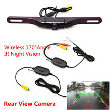 Car License Plate Mount Wireless Rear View Reverse Backup Camera IR Night Vision
