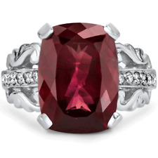 Certified 10.00cttw Rubellite Tourmaline 0.50cts Diamond 14KT White Gold Ring