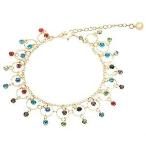 14k gold filled round multi color stone anklet with extension