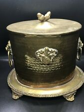 Antique Footed Brass Hammered Ice Bucket/Box with Lion Head Handles Vintage