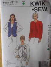 Kwik Sew Pattern 3116-Misses' LINED JACKET and VEST-Sizes: XS-XL-Applique-UNCUT