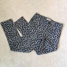 Cherokee Girl's Pants Stretch Jeans Leopard Print L Gray Adjustable Waist