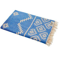 Hamamtuch Kelim Ethno blau Strandtuch Pareo Saunatuch 90x175 cm 100% Baumwolle