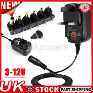 UK Universal 3-12V Adjustable Voltage Adaptor Charger AC/DC Power Supply Adapter