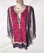 NEW! LUCKY BRAND Women's V-Neck Half-Button Blouse - Size L, Very Pretty!