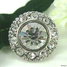 8 Sparkling 14mm Crystal Rhinestone Silver Tone Metal Sewing Buttons #S359