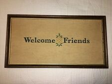 Finished Needlepoint Cross Stitch Welcome Friends Pineapple Framed Vintage 19x10