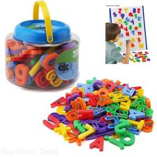 ABC Magnets EduKid Toys 109 Magnetic Alphabet Letters Numbers With Clear Bucket