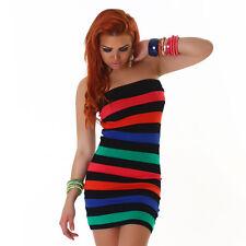 Trägerloses Bandeau - Minikleid Kleid gestreift Streifen schwarz bunt 34 36 38