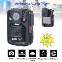 64GB HD 1296P GPS Body Pocket Police Video Camera Recorder IR Night Vision 140°