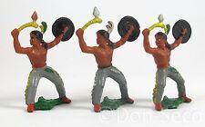 Konvolut 3 Figuren Gummi Indianer mit Axt und Schild DDR Richard Hopf