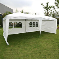10'x20' White/Blue Canopy Wedding Party Tent Outdoor Garden Gazebo w/ Side Walls