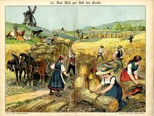 1891 WALTHER CHROMOLITHOGRAPH 19th century field harvesting