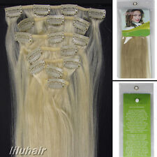 15Inch 7Pcs Straight Clip In Real Remy Human Hair Extensions 70G 60 white blonde