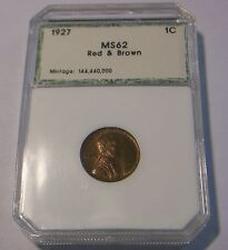 1927 LINCOLN CENT RED AND BROWN, ENCASED EXCELLENT CONDITION, APPRECIATING !!