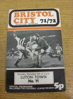 04/12/1971 Bristol City v Luton Town  (Excellent Condition)