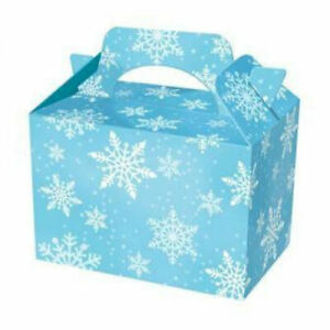 20 Blue Snowflake Party Boxes - Food Christmas Lunch Gift Kids Frozen