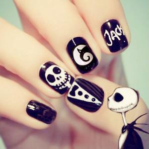Halloween Skeleton Black White Press On Nails French Fake Nails Extension Tools