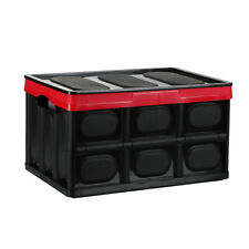 55L Collapsible Plastic Storage Box Durable Stackable Folding Utility Crates