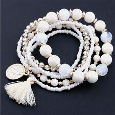 Hot Jewelry Multi-layer Colorful Beads Coin Tassel Bracelets Metal Bracelet