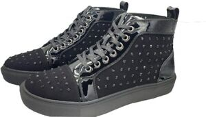 Mens shoes Black Studded Street Casual Biker Runner Slip On Laces Ankle Sneakers