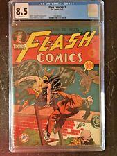 FLASH COMICS #23 CGC VF+ 8.5; White pg!; Sheldon Moldoff Hawkman cover!