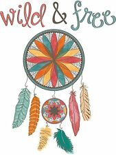 WILD AND FREE DREAM CATCHER Wall Decals Dreamcatcher Room Decor Stickers Feather
